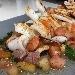 Calamari grigliati con taccole di bottarga al tonno e farina di bottarga al muggine