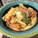 Gigli tricolori con zuppa di patate e scamozza affumicata
