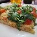 Pizza in teglia mix 3farine sarde, farcita con dolcesardo, pomodorini e rucola