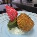 Stracciata di pezzata rossa, tartar di marchigiana allevata nel Sannio fritta in sugna di suino nero, gelato al basilico e cialda di pane casareccio al lampone - - - Fotografia inserita il giorno 28-09-2021 alle ore 16:26:11 da sabatinocillo