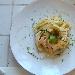 Ricetta inserita su spaghettitaliani.com da Anna Maria Di Gregorio: Tagliatelle di semola di grano duro con crema di ricotta fresca, ricotta forte, ristretto di fichi ed erba cipollina
