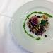 Orecchiette integrali con capocollo di Martina Franca, zucchine, ceci neri della murgia, pesto pugliese e cialda croccante di caciocavallo