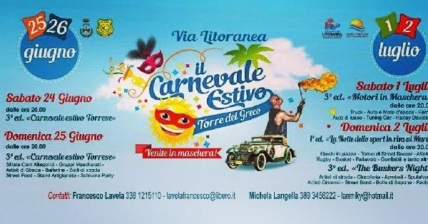 Dal giorno 24 giugno al 2 Luglio. 3° Edizione del Carnevale Estivo Torrese.