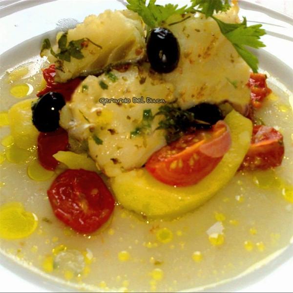 Baccal� in umido con patate Silane e Olive Ogliastre nostrane