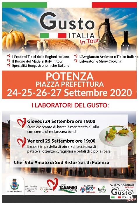 Gusto Italia in tour arriva in Basilicata. A Potenza, dal 24 al 27 settembre, la nona tappa