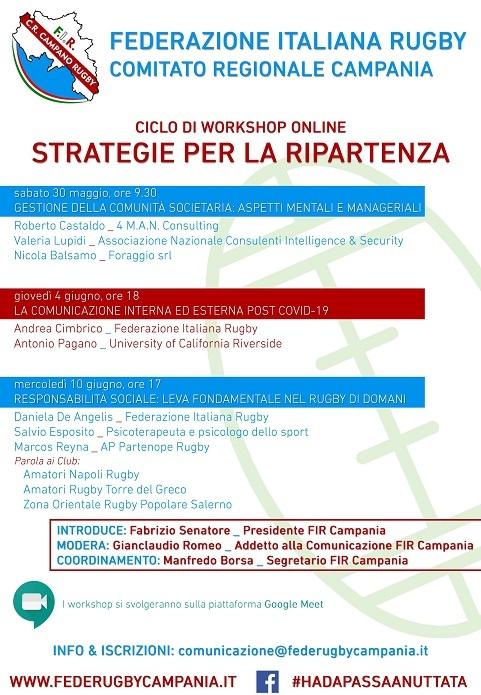 Partono i workshop FIR Campania, strategie per la ripartenza con tre workshop formativi destinati ai Club di rugby dal 30 maggio al 10 giugno online
