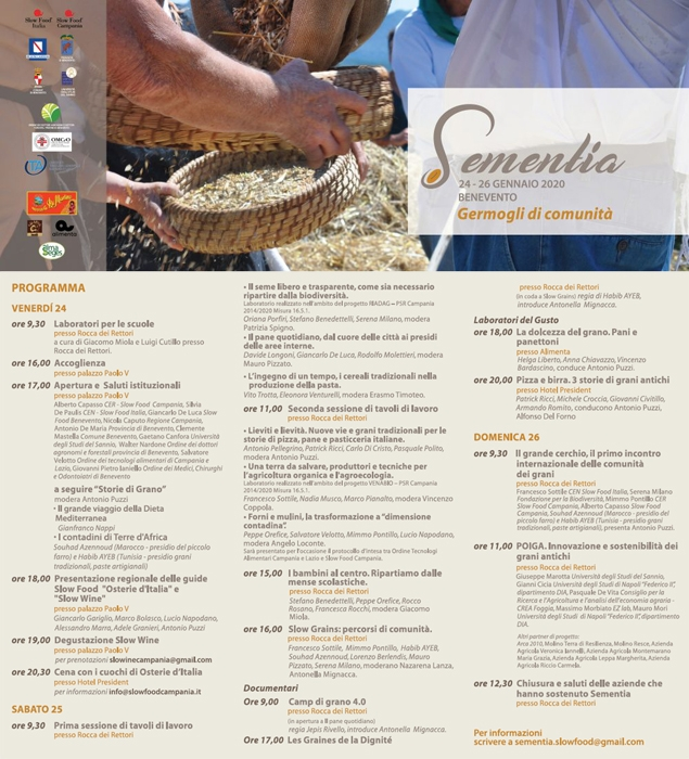 Dal 24 al 26 Gennaio - Benevento - Sementia, germogli di comunità