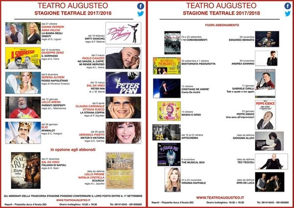 Stagione Teatrale 2017 Teatro Augusteo di Napoli