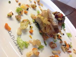 -Arcobaleno Mediterraneo , con filettino di spatola farcito con cipolla in agrodolce e caponatina di verdure