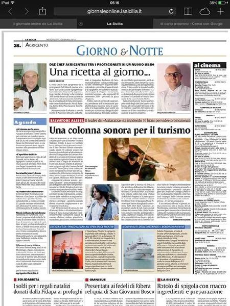 La Sicilia , articolo sulla mia partecipazione al libo 365 una ricetta al giorno leva il medico di torno