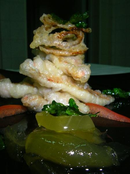 Verticale di Triglie in tempura con composta di melone vernino