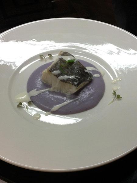 Baccal� cotto al vapore su crema soffice di patate viola e salsa aromatica