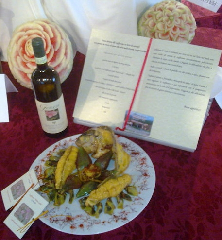 Orata dorata allo zafferano su letto di carciofi con patate in crosta di pane alle erbe mediterranee e peperoncino