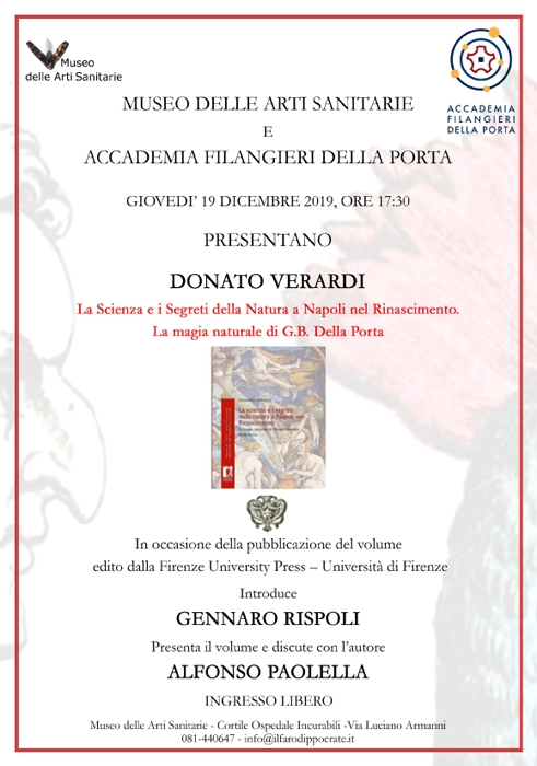 19/12  17.30 La magia naturale di Giovan Battista Della Porta al Museo delle Arti Sanitarie di Napoli