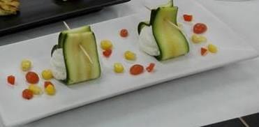 Taccole di zucchine con spuma di ricotta allo zenzero