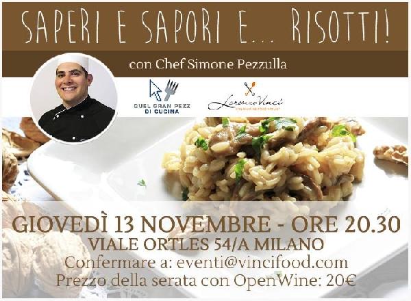 Saperi e Sapori e... Risotti il 13 Novembre showcooking a Milano