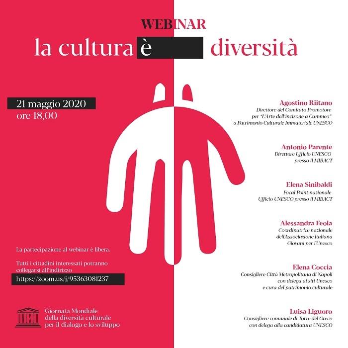 21 maggio ore 18 Webinar, La cultura è diversità, a cura del Comitato Promotore UNESCO Arte dell'incisione a Cammeo