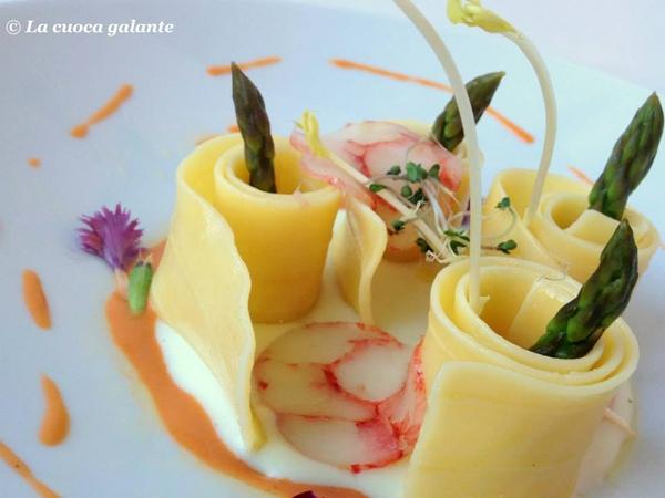 Chiocciole.it... Lasagnette con patate, salame di gamberi rossi di Sicilia e punta di asparagi
