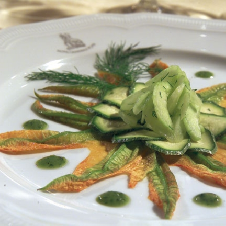 -Zucchine Marinate con Fiori di Zucca Cetrioli all'Aneto e Citronette alla Rucola