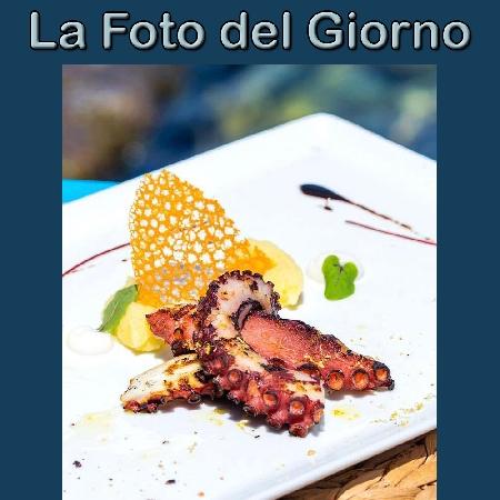 La Foto del Giorno del 1° Settembre 2021 - Polipo scottato alla griglia con chenelle di patate al lime, corallo alimentare e olio extravergine d'oliva